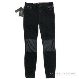 Zara Premium Black Faux Leather Moto Skinny Jeans